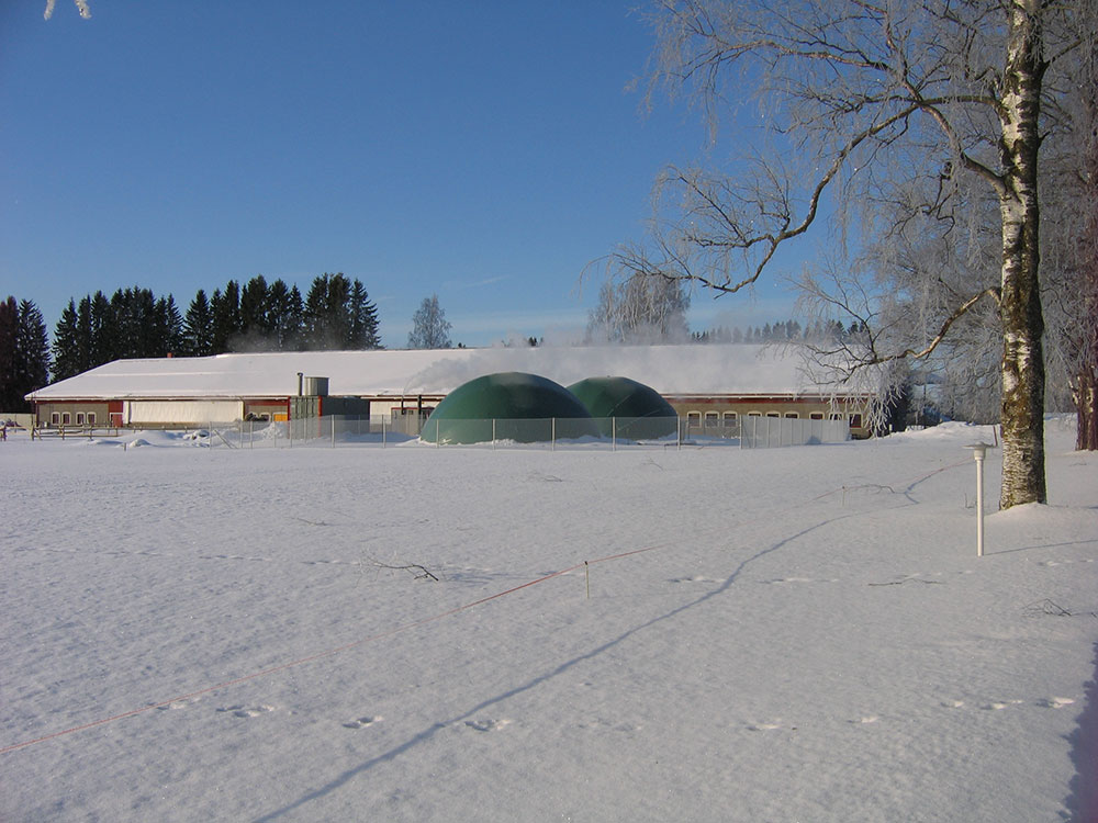 Farm-scale biogas plant on a Finnish dairy farm with 100 cows. Biogas plant in the front and the cowhouse behind (photo Auvo Sairanen).